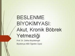 BESLENME BYOKMYASI Akut Kronik Bbrek Yetmezlii Prof Dr