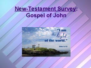 NewTestament Survey Gospel of John Gospel of John