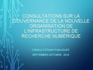 CONSULTATIONS SUR LA GOUVERNANCE DE LA NOUVELLE ORGANISATION