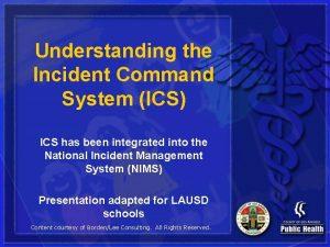 Understanding the Incident Command System ICS ICS has