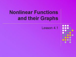 Nonlinear Functions and their Graphs Lesson 4 1