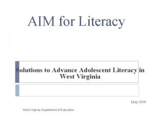 AIM for Literacy Solutions to Advance Adolescent Literacy