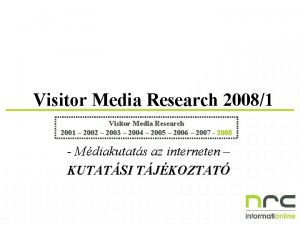 Visitor Media Research 20081 Visitor Media Research 2001