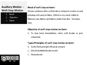 Auxiliary Motion Weft Stop Motion 1 Need 2