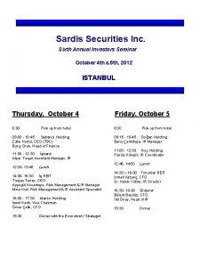 Sardis Securities Inc Sixth Annual Investors Seminar October