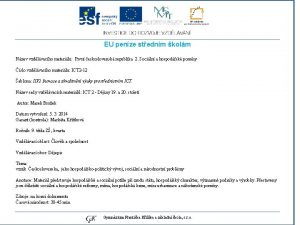 EU penze stednm kolm Nzev vzdlvacho materilu Prvn