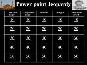 Power point Jeopardy The Roman Empire The Byzantine