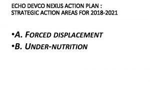 ECHO DEVCO NEXUS ACTION PLAN STRATEGIC ACTION AREAS
