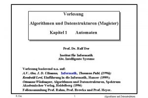 Vorlesung Algorithmen und Datenstrukturen Magister Kapitel 1 Automaten