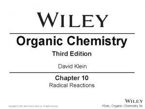 Organic Chemistry Third Edition David Klein Chapter 10