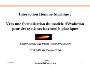 Interaction HommeMachine Vers une formalisation du modle dvolution