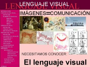 LENGUAJE VISUAL IMGENESCOMUNICACIN INTRODUCCIN COMUNICACIN VISUAL DEFINICIN ELEMENTOS
