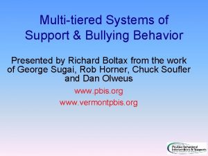 Multitiered Systems of Support Bullying Behavior Presented by