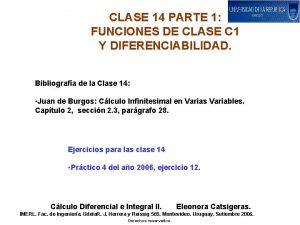 CLASE 14 PARTE 1 FUNCIONES DE CLASE C