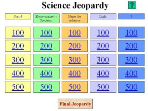 Science Jeopardy Sound Electromagnetic Spectrum Name the radiation