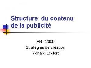 Structure du contenu de la publicit PBT 2000