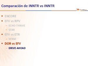 Comparacin de INNTR vs INNTR ENCORE EFV vs