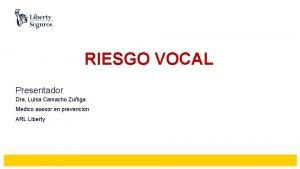 RIESGO VOCAL Presentador Dra Luisa Camacho Zuiga Medico