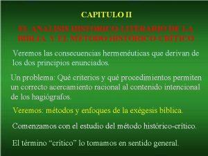 CAPITULO II EL ANALISIS HISTORICOLITERARIO DE LA BIBLIA