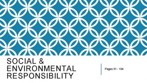 SOCIAL ENVIRONMENTAL RESPONSIBILITY Pages 91 104 ENVIRONMENTAL ISSUES