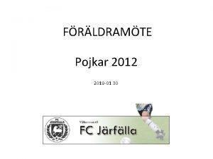 FRLDRAMTE Pojkar 2012 2019 01 30 Agenda Introduktion
