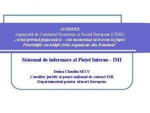 AUDIERE organizat de Comitetul Economic i Social European