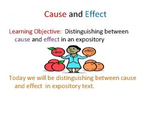 Cause and Effect Learning Objective Distinguishing between cause