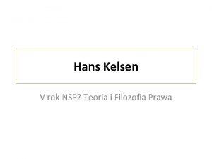 Hans Kelsen V rok NSPZ Teoria i Filozofia