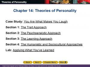 Theories of Personality Chapter 14 Theories of Personality