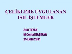ELKLERE UYGULANAN ISIL LEMLER Zeki TAYAN M Cemal