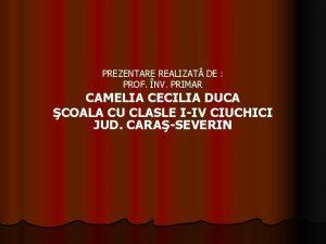 PREZENTARE REALIZAT DE PROF NV PRIMAR CAMELIA CECILIA