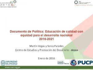 Documento de Poltica Educacin de calidad con equidad
