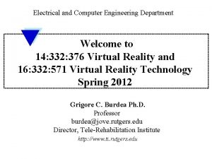 Electrical and Computer Engineering Department Welcome to 14