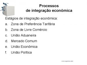 Processos de integrao econmica Estgios de integrao econmica