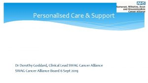 Personalised Care Support Dr Dorothy Goddard Clinical Lead