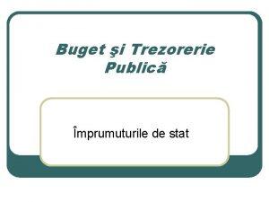 Buget i Trezorerie Public mprumuturile de stat Prezentare