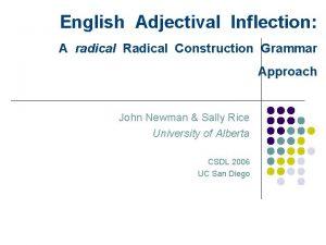 English Adjectival Inflection A radical Radical Construction Grammar