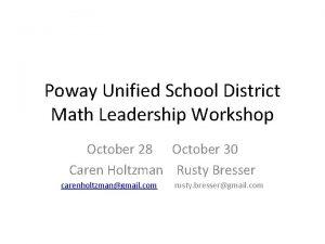 Poway Unified School District Math Leadership Workshop October