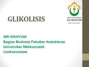 GLIKOLISIS SRI WAHYUNI Bagian Biokimia Fakultas Kedokteran Universitas