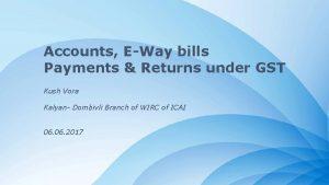 Accounts EWay bills Payments Returns under GST Kush