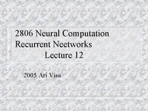 2806 Neural Computation Recurrent Neetworks Lecture 12 2005