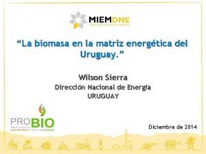 La biomasa en la matriz energtica del Uruguay