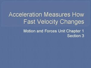Acceleration Measures How Fast Velocity Changes Motion and
