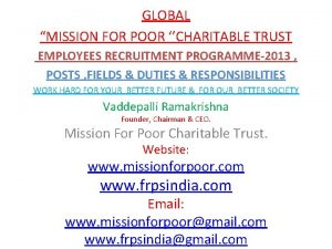 GLOBAL MISSION FOR POOR CHARITABLE TRUST EMPLOYEES RECRUITMENT