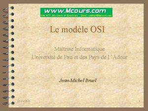 Le modle OSI Matrise Informatique Universit de Pau