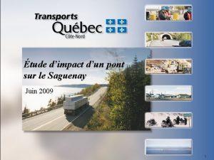 tude dimpact dun pont sur le Saguenay Juin