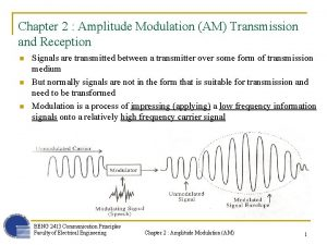 Chapter 2 Amplitude Modulation AM Transmission and Reception