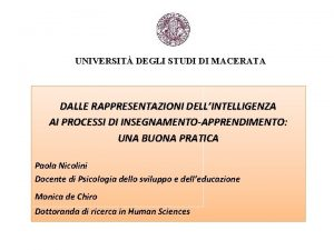 UNIVERSIT DEGLI STUDI DI MACERATA DALLE RAPPRESENTAZIONI DELLINTELLIGENZA