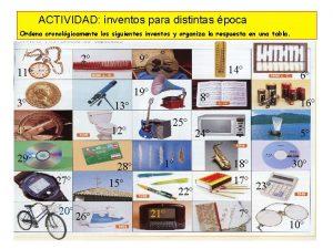 ACTIVIDAD inventos para distintas poca Ordena cronolgicamente los