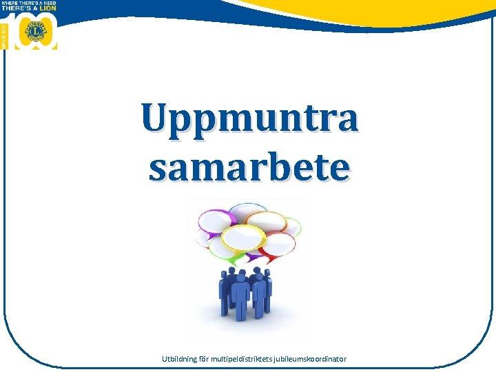 Uppmuntra samarbete Utbildning fr multipeldistriktets jubileumskoordinator Aktivitet Utbildning